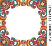 vector colorful floral frame...   Shutterstock .eps vector #591198194