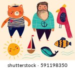 cute summer collection. vector... | Shutterstock .eps vector #591198350