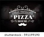 pizza logo. vintage pizzeria... | Shutterstock .eps vector #591199190