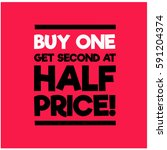 buy one get second at half... | Shutterstock .eps vector #591204374