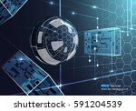 glass sphere with rectangles 3d | Shutterstock .eps vector #591204539