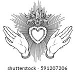 female open hands around sacred ... | Shutterstock .eps vector #591207206