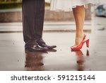 feet in footwear of groom and... | Shutterstock . vector #591215144