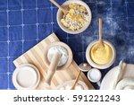 various ingredients in woodwork ... | Shutterstock . vector #591221243