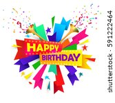 happy birthday concept with... | Shutterstock .eps vector #591222464