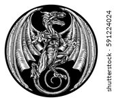 a dragon in a vintage retro... | Shutterstock . vector #591224024