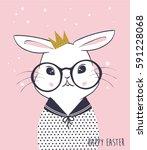 rabbit illustration for apparel | Shutterstock .eps vector #591228068