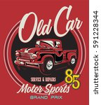 vintage race car for printing... | Shutterstock .eps vector #591228344
