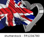 uk wavy flag with heart and... | Shutterstock . vector #591236780