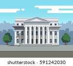 front view of court house  bank ... | Shutterstock .eps vector #591242030
