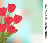 spring text with red tulips... | Shutterstock .eps vector #591242690