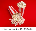 popcorn in red and white... | Shutterstock . vector #591258686