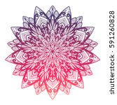 vector hand drawn mandala.... | Shutterstock .eps vector #591260828