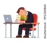 overworked businessman falling... | Shutterstock .eps vector #591260864