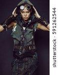 young woman warrior in brutal...   Shutterstock . vector #591262544