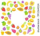 vector frame of hand drawn... | Shutterstock .eps vector #591264314