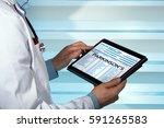 neurologist consulting medical... | Shutterstock . vector #591265583