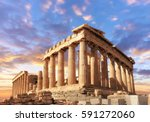 Parthenon temple on a sinset. Acropolis in Athens, Greece, This picture is toned.