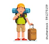 excited tourist man standing... | Shutterstock .eps vector #591275159