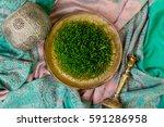 traditional fresh green grass... | Shutterstock . vector #591286958