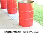 200 liter tank red hazardous... | Shutterstock . vector #591293363