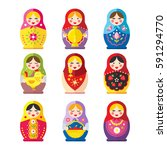 a set of russian matryoshka... | Shutterstock .eps vector #591294770