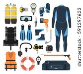 equipment for diving in a flat... | Shutterstock .eps vector #591297623