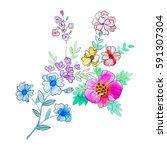 watercolor flowers illustration.... | Shutterstock . vector #591307304