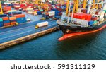 container ship in export and... | Shutterstock . vector #591311129