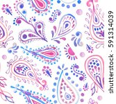 watercolor paisley seamless... | Shutterstock . vector #591314039