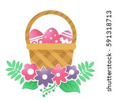 color basket with easter eggs.... | Shutterstock .eps vector #591318713