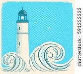 lighthouse blue poster.vector... | Shutterstock .eps vector #591323333