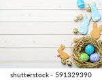 Easter Eggs In A Nest  Bunny...