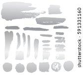 set of silver ink blots... | Shutterstock .eps vector #591331160