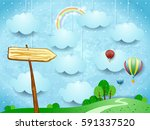 surreal landscape with hot air... | Shutterstock .eps vector #591337520