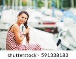 outdoor summer portrait of a... | Shutterstock . vector #591338183