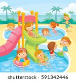 kids swimming in aqua park | Shutterstock .eps vector #591342446