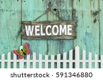 wood welcome sign hanging by... | Shutterstock . vector #591346880
