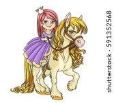 beautiful little princess... | Shutterstock .eps vector #591352568