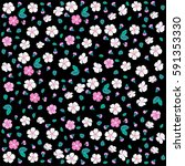 seamless floral pattern. white... | Shutterstock .eps vector #591353330
