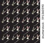 easter rabbit pattern. vector... | Shutterstock .eps vector #591360590