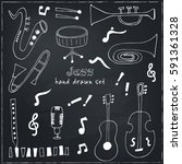 jazz musical instruments set... | Shutterstock .eps vector #591361328