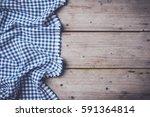blue checkered tablecloth on an ... | Shutterstock . vector #591364814