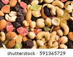 dried fruits and nuts... | Shutterstock . vector #591365729