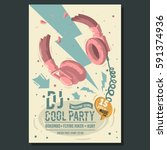 dj party poster flyer design... | Shutterstock .eps vector #591374936