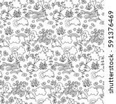 black and white vector seamless ... | Shutterstock .eps vector #591376469