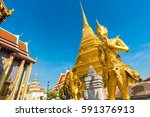 angel at temple of royal grand... | Shutterstock . vector #591376913