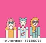 three beautiful women on pink... | Shutterstock .eps vector #591380798