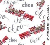 watercolor retro train... | Shutterstock . vector #591382373