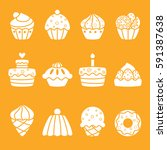 set of cakes and desserts.... | Shutterstock .eps vector #591387638